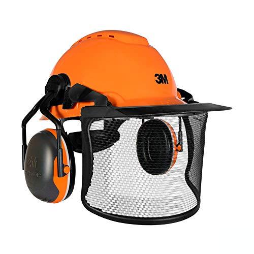 3M Pro Forestry Casco Motosierra Casco Arborista Kit Naranja con 32SNR Mejorado Defensores de Oído y Visor de Malla Ultra Claro