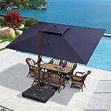 PURPLE LEAF 9' X 12' Double Top Deluxe Wood Pattern Rectangle Patio Umbrella Offset Hanging Umbrella Outdoor Market Umbrella Garden Umbrella, Navy Blue