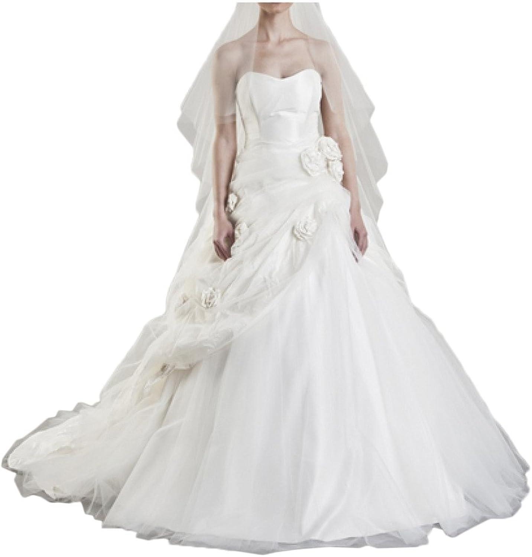 Avril Dress Taffeta Ball Gown Flower Sweetheart Wedding Dress Gown With Train
