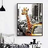 Lienzo pintura jirafa taxi carteles e impresiones vintage paisaje nórdico imágenes artísticas de pared para decoración del hogar 70x100cm / 27.6 'x39.4' Sin marco