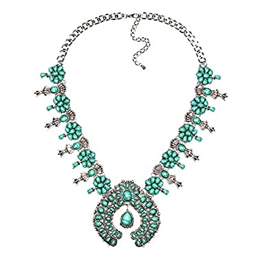 Lovage Bohemian Exaggerate Turquoise Flower Pendant Necklace Women Jewelry (Blue)
