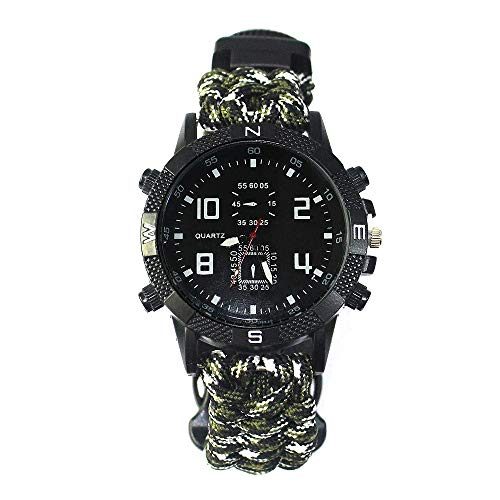 FGFGN Outdoor Running 5ATM waterdichte militaire horloges, multi action horloge, Whistle Mountaineering Compas outdoor survivalhorloge, geschikt voor outdoor-bergbeklimmen reisavonturen, size, Militarywit
