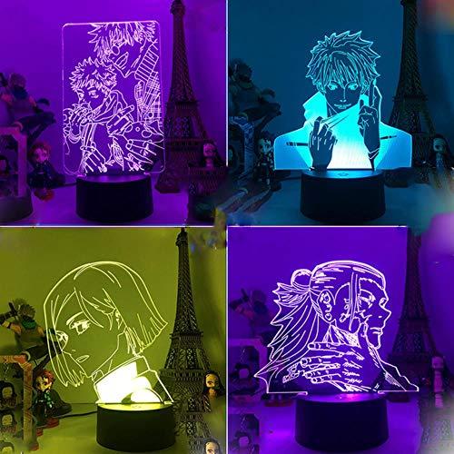 Anime Jujutsu Kaisen Ryomen Sukuna 3D LED Nachtlicht Lampe für Schlafzimmer Dekor Kinder Geburtstag Geschenk Licht Jujutsu Kaisen Gadget