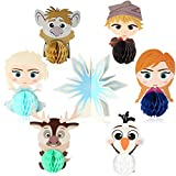 TICIAGA 7pcs Frozen Honeycomb Centerpieces Table Topper for Birthday Party Decoration, Double Sided Frozen Cake Topper, Elsa Princess Photo Booth Props, Winter Wonderland Theme Party Favor Supplies