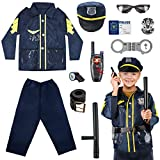 Kids Police Costume Role Play Kit - 11PCS Policeman Dress Up for Boys Girls, Police Officer Costumes for Toddlers Birthday Christmas Halloween Toys Gifts