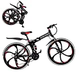 26 Inch Folding Mountain Bike Folding Bikes for Men Women QAY-5R 21 Speed Full Suspension Disc Brakes Cruiser Bicycles (Black-1)