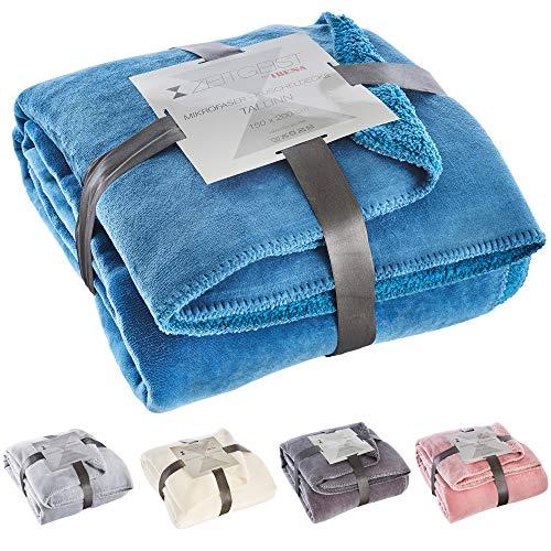 Zeitgeist Decke Tallinn, Tagesdecke blau 150x200 cm, Mikrofaser Kuscheldecke, weiche Decke in vielen erhältlich
