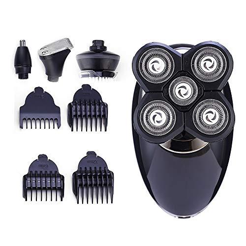 4In 1 Scheerapparaat Mannen Nose Hair Trimmer Washable 5D Floating Blade Kaalgeschoren Hoofd Beard Trimmer Razor Nose Hair Cutter,Black