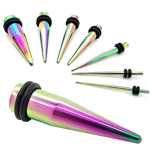 Set Taper Stretcher Ecarteur Expandeur 1,6 2 3 4 5 6 8 10 mm pour Flesh Tunnel Plug Arc-en-Ciel Rainbow