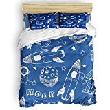 T&H XHome Teenage Sheet & Pillowcase Sets Rockets Astronauts Moon Star Duvet Cover Set Light-Weight 4pc Full Size Bed Sheet Set, Soft and Breathable with Zipper Closure & Corner Ties