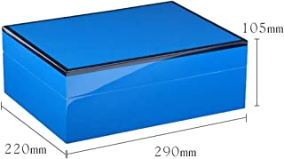 LIFANGAU Cigar Box, Cedar Wood Cigar Box, Humidor, Cigar Humid Box, Black, Blue, Red, Yellow (Color : Blue)
