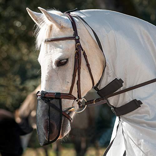 Umiwe Pferd fliegen Maske, [Fine Mesh Neueste Upgrade] Fliegenmaske mit Ohren und Nase Verlängerung–langlebig & Abnehmbare Nase Mesh Full Face UV-Fly Maske/Kapuze/Schleier, Nose Protector L
