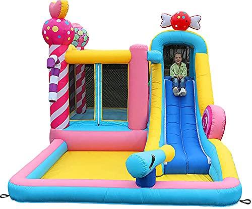 JAZC Castillo Hinchable Infantil con Tobogán Cama de Salto Inflador Suelo Hinchable, Castillos hinchables Infantiles, 4.65mX2.8m