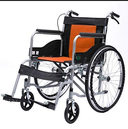 WLD Opvouwbare Rolstoel Lichtgewicht Draagbaar, Aanhanger Aangedreven Ouderen Rolstoelen met been Ondersteuning Seatbelt Handremmen Verwijderbare Voetsteunen 100Kg Capaciteit nb ORANJE