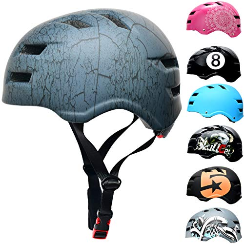 Skullcap® BMX Helm – Skaterhelm – Fahrradhelm – Herren – Damen – Jungs & Kinderhelm, Grau-schwarz, Gr. M (55 – 58 cm), Design: Crack