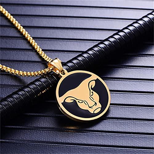 Collar del Zodiaco Color Dorado Acero Inoxidable 12 Constelaciones Signos Colgante Cadenas para Hombres/Mujeres Joyería