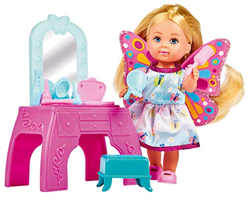 Evi Love Beauty Fairy - Muñeca de Hada con tocador, Silla y 9 Accesorios, 12 cm, para niños a Partir de 3 años