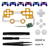 eboxer-1 6‑Color Luminated Thumbsticks D-pad DTF LED Buttons Kit for PS4 Controller, Multi-Colors red/Green/Blue/Light Yellow/Purple/Cyan, with Tools - Controller NOT Included