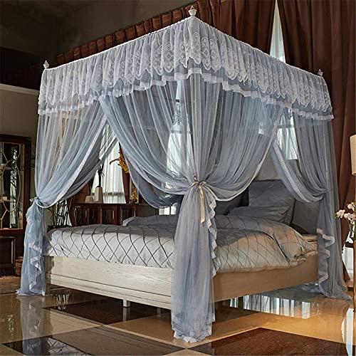 4 hörn post canopy säng gardin ruffle prinsessa myggnät säng kanopy gardiner söta mysiga drapera torget netting draperier 120x200cm