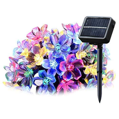 SALCAR Guirlande Lumineuse Solaire, 5 mètres de chaîne de lumière LED solaire 20 cerise fleur éclairage de décoration pour les fêtes de Noël (RGB)