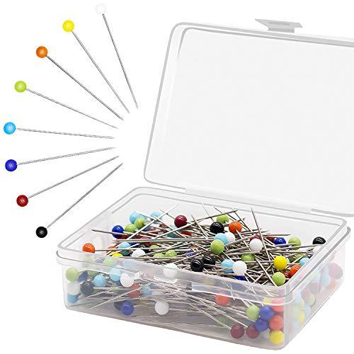 Stecknadeln mit Kopf 250 Stück,Glaskopfnadeln,Edelstahl Stecknadeln Mehrfarbig Glaskopfstecknadeln für Basteln Nähen Säumen Craft,Jewelry Komponenten Dekoration(38mm)