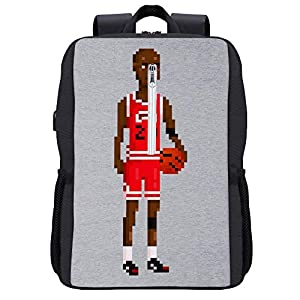 Michael Jordan Body Pixel Mochila para portátil con puerto de carga USB
