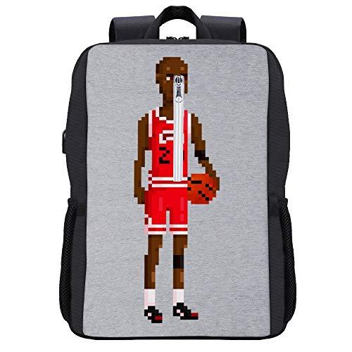 51nnkSrCgyL - Michael Jordan Body Pixel Mochila para portátil con puerto de carga USB