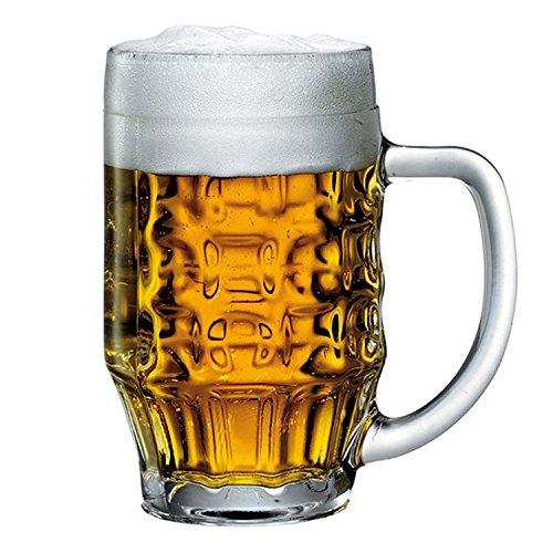 Bormioli Rocco 600ML Vaso de Cerveza Stein Jarra Gafas con Agujeros, Ale Taza 0,5L con Forro, Quantity of Glasses:1