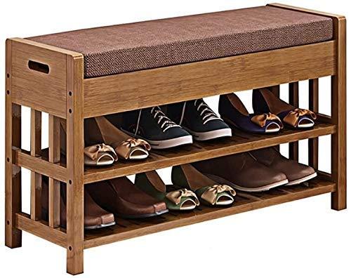 CXVBVNGHDF Banco de Zapatos Europeo, Zapatero de bambú, Zapatos de Prueba de Madera, Zapatos Minimalistas Modernos, Taburete de Almacenamiento, Taburete de Almacenamiento, Taburete de sofá (Color: M)