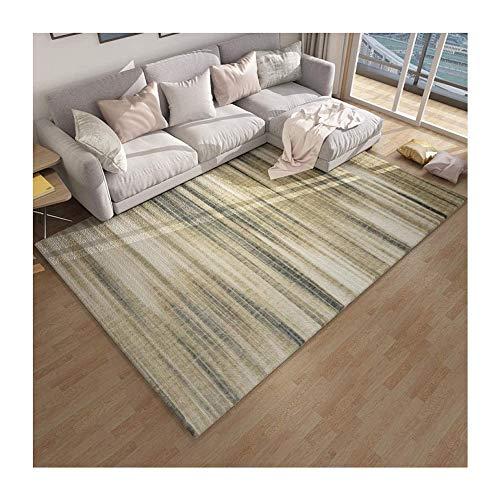 PULLEY Alfombra moderna para salón, dormitorio, comedor, color amarillo mostaza, pintura abstracta,...