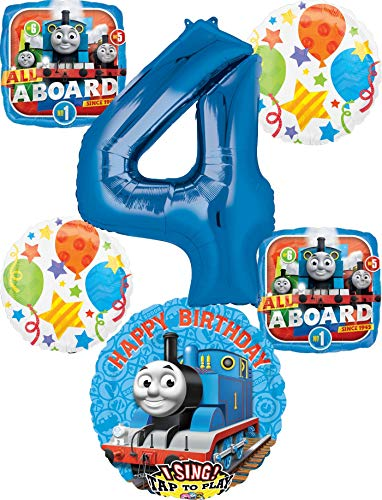 party supplies train toys Thomas the Train Party Supplies 4th Birthday Sing A Tune Tank Engine Balloon Bouquet Decorations
