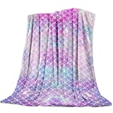 Aomike Flannel Fleece Throw Blanket for Couch- 39' x 49', Glittering Mermaid Blanket Super Soft Cozy Plush Microfiber Fluffy Blanket Lightweight Warm Bed Blanket