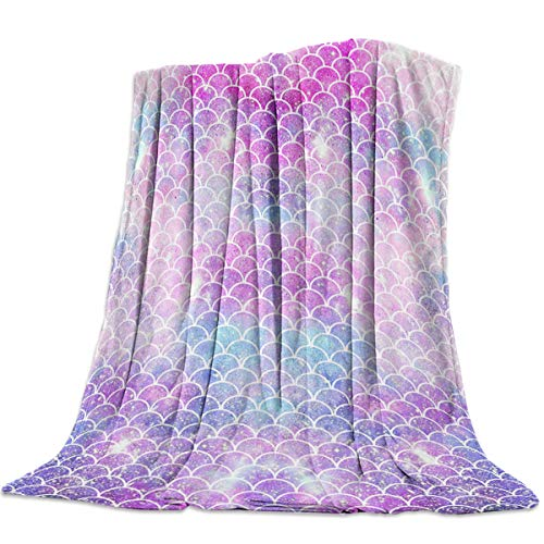 "T&H Home Artistic Blanket, Ombre Beauty Mermaid Fish Scale Soft Flannel Fleece Bedding Blanket for Couch, Throw Blanket for Cover Men Women Aults Kids Girls Boys 40""x50"""