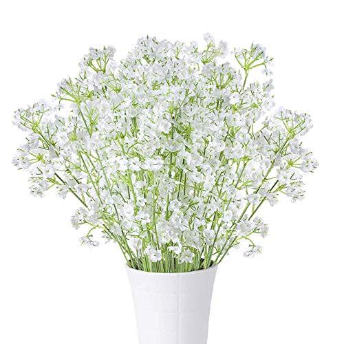 HUAESIN 10Pcs Flores Artificiales Pequeñas Decoración Blancas Gypsophila Artificiales Orquideas Baby Breath Flores de Seda Plantas Artificiales Exterior e Interior para Boda Manualidad hogar