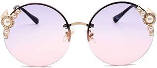 DovSnnx - DovSnnx Gafas De Sol Unisex para Hombres Y Mujers Polarizadas Protección 100% Uv400 Clásico Vintage Moda Sunglasses Sin Marco Perla Redonda Montura Dorada Lentes Gris Rosa