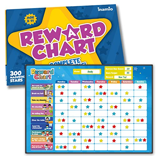 Inamio Reward Chart for Kids – 80+ Chores, Chore Chart for Multiple Kids – Magnetic, for Toddlers at Home – Great for Classroom, Potty Training...