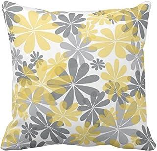 FiuFgyt Funda de cojín decorativa moderna de lona con diseño de flores amarillas y grises para sofá cuadrado, funda de cojín de 45,7 x 45,7 cm