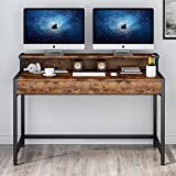 Tribesigns 47 inches Compute Desk with 2 Drawers and Monitor Stand, Modern PC Writing Table with Hutch Shelf, Space Saving Workstation Desk for Home Office, Rustic