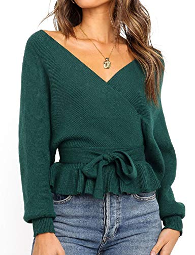 ZESICA Women's Wrap V Neck Long Batwing Sleeve Belted Waist Ruffle Knitted Sweater Pullover Top Green