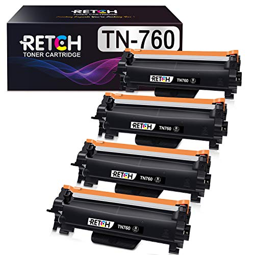 RETCH Compatible Toner Cartridge Replacement for Brother TN760 TN-760 TN730 TN-730, Used with HL-L2350DW HL-L2370DW HL-L2390DW HL-L2395DW MFC-L2710DW (4 Pack)
