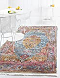 Unique Loom Baracoa Collection Bright Tones Vintage Traditional Area Rug, 4 Feet 3 Inch x 6 Feet, Multi/Blue