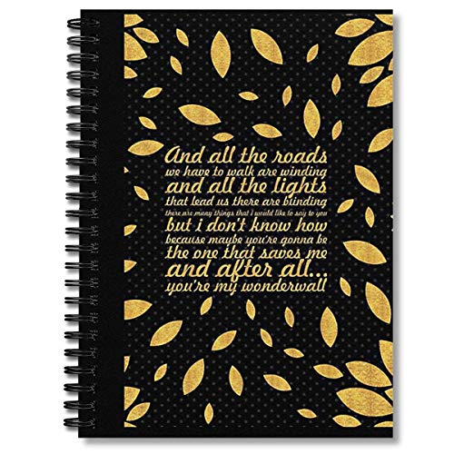 """Spiral Notebook Oasis """"wonderwall Song Lyric Creative Composition Notebooks Journal With Premium Thick Lined Paper"""