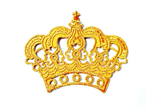 TH Princess Gold Golden Crown Cute Cartoon Logo Applique Embroidered Sew on Iron on Patch for Backpacks Jeans Jackets Clothing Costume