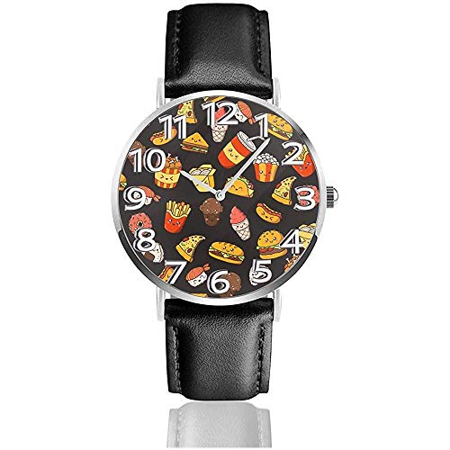 Nette Hotdog Rucksäcke Pizza Taco Uhren Langlebige PU Leder Armbanduhr Quarzuhr als Geburtstagsgeschenk