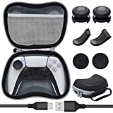 Accessories for PS5 DualSense Controller, 8 in 1 Accessories Bundle with Carrying Case, Protective Cover Case, Thumb Grips Caps, Trigger Extenders and Charging Cable for Playstation 5 Controller