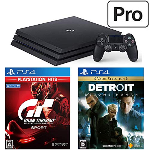 PlayStation 4 Pro + グランツーリスモSPORT + Detroit: Become Human セット (ジェット・ブラック) (CUH-7...