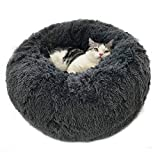 Calming Dog Cat Bed 40 70 100cm Plush Donut for Large Medium Small Dog Cat Anxiety Relief Fluffy Soft Round Pet Nest Orthopedic Relief Cuddler Kennel Super Lightweight Dark Grey 40cm