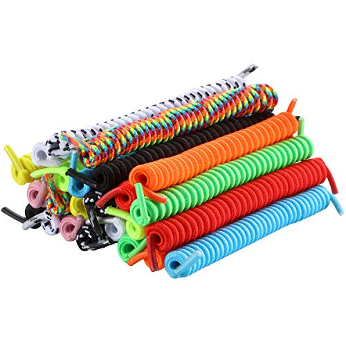 12 Pairs No Tie Curly Shoelaces Elastic Shoe Lace for Kids and Adults (Multicolor)