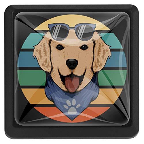TIKISMILE Hond Retro Bandana Kristal Glas Vierkante Lade Knoppen en Trekken Knoppen Handgrepen voor Keuken Meubels Deur Lade Kast Dressoir Kledingkast Cupboard Badkamer,3 Pack