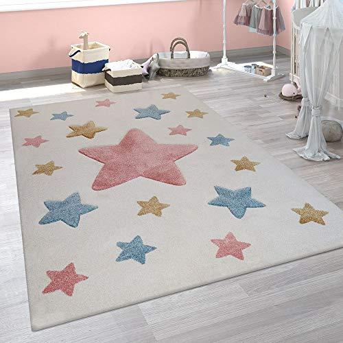 Alfombra Infantil, Alfombra Moderna para Habitaciones Infantiles En Colores Pastel con Motivos De Estrellas, tamaño:80x150 cm, Color:Crema